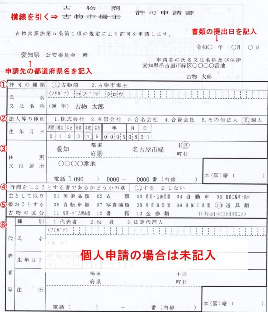 古物商許可申請書【記入例】