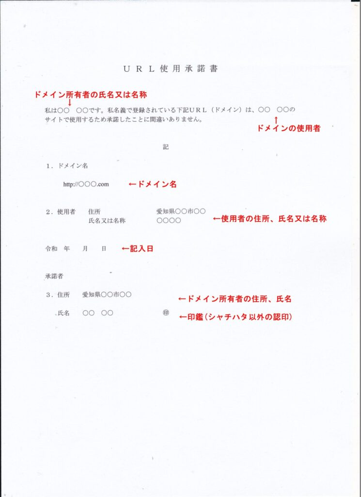 URL使用承諾書の記載例