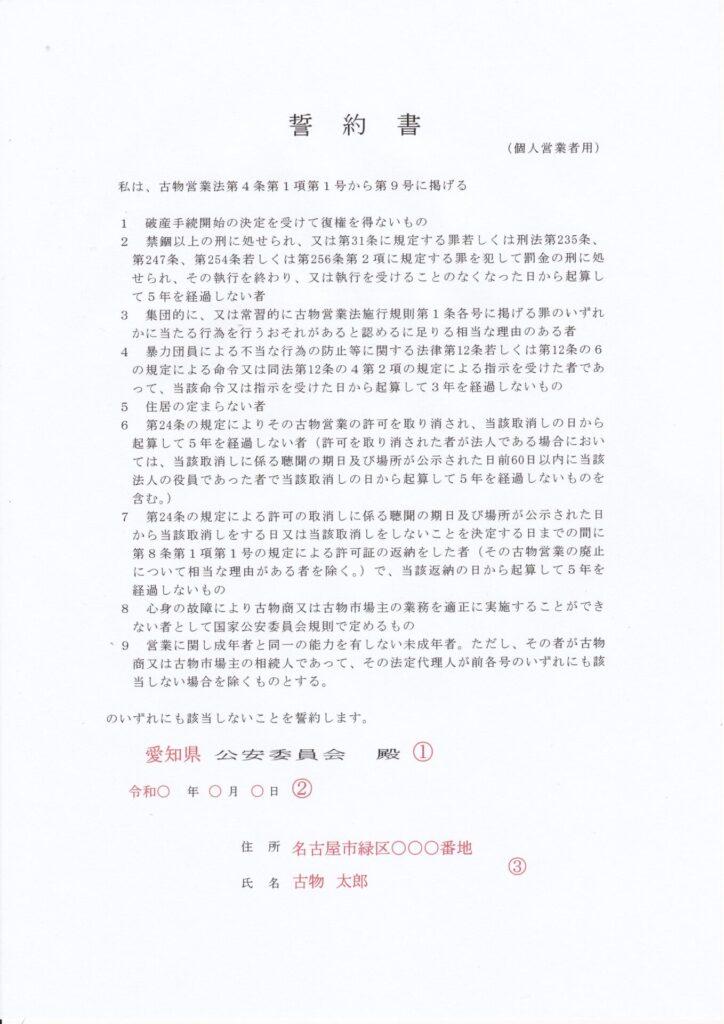 誓約書【個人申請者】